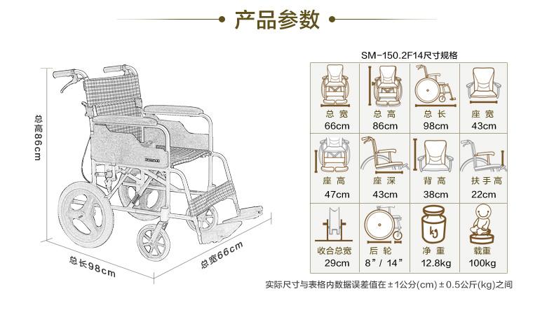 康扬轮椅SM150.2F14参数