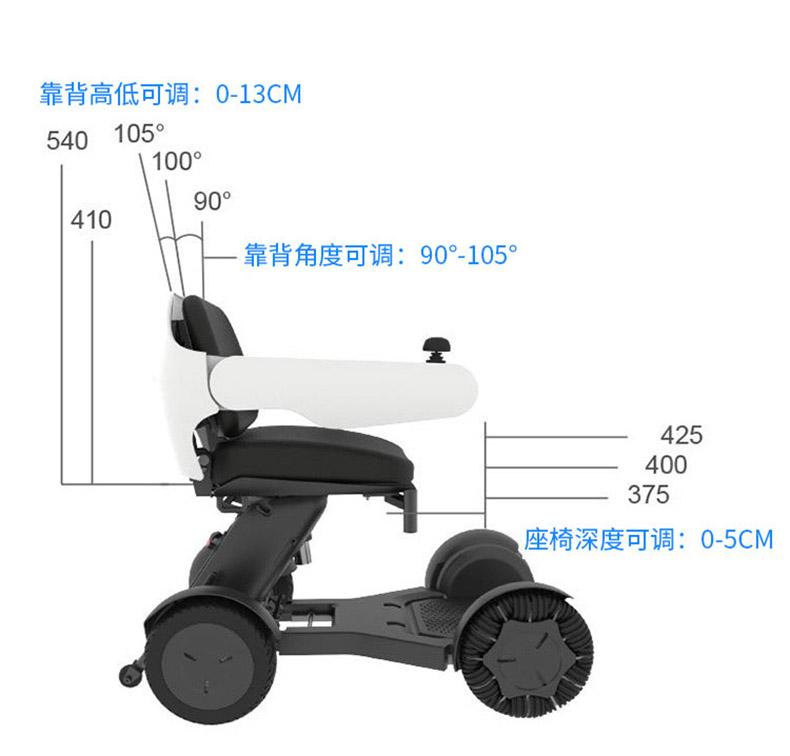 蜂鸟智能代步车人体工学座椅设计,靠背可调节