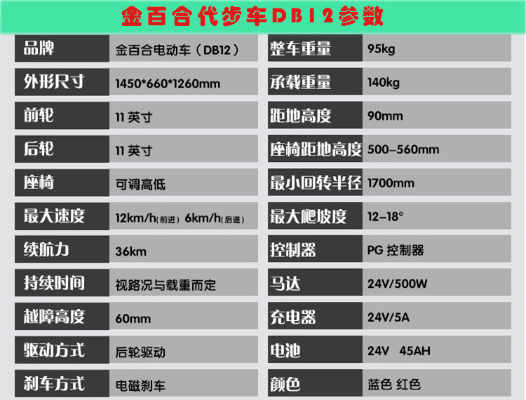 金百合DB-12电动代步车参数表