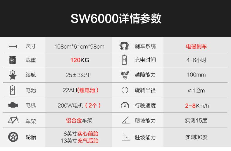 斯维驰电动轮椅车SW6000Z参数