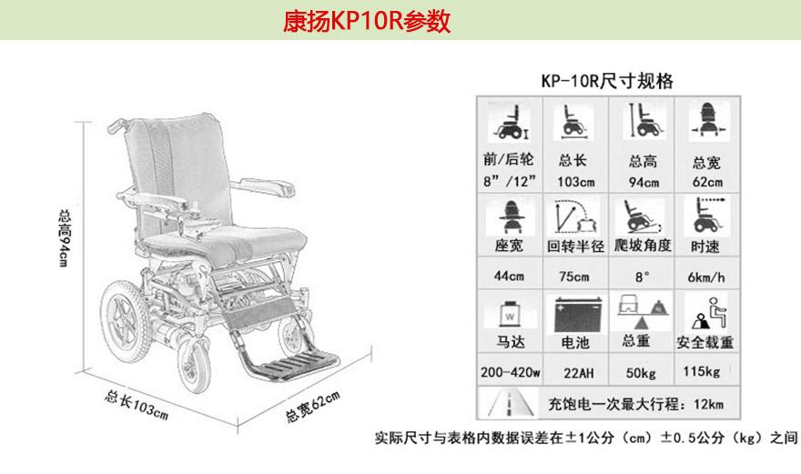 康扬电动轮椅KP-10.3参数
