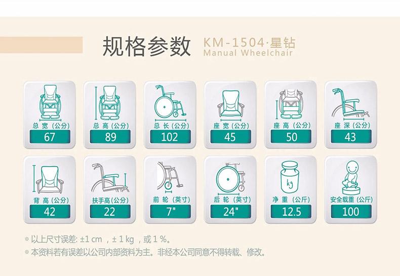 康扬KM1504轮椅参数图