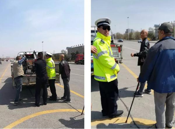 老人驾电动轮椅半路车胎漏气 交警和货车司机及时相助