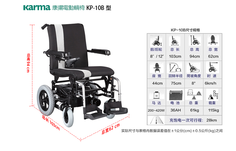 进口康扬电动轮椅KP10B参数