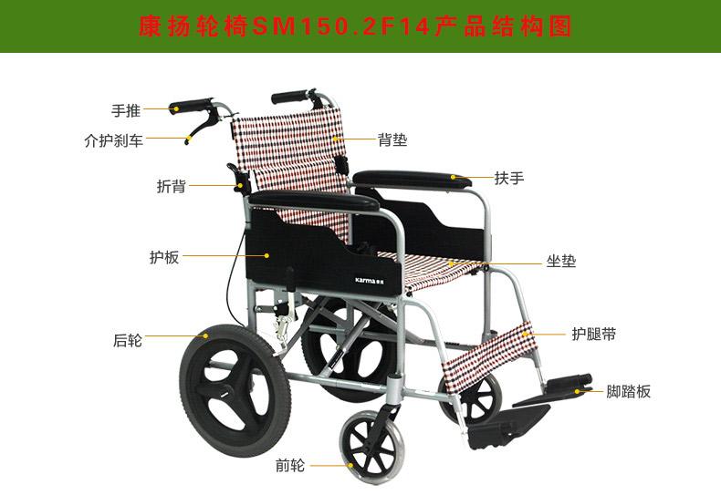 康扬轮椅SM150.2F14,康扬轮椅