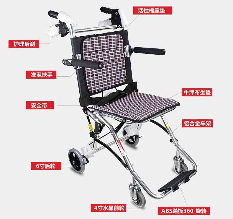 鱼跃轮椅1100铝合金轻便折叠老人残疾人旅行轮椅车结构图