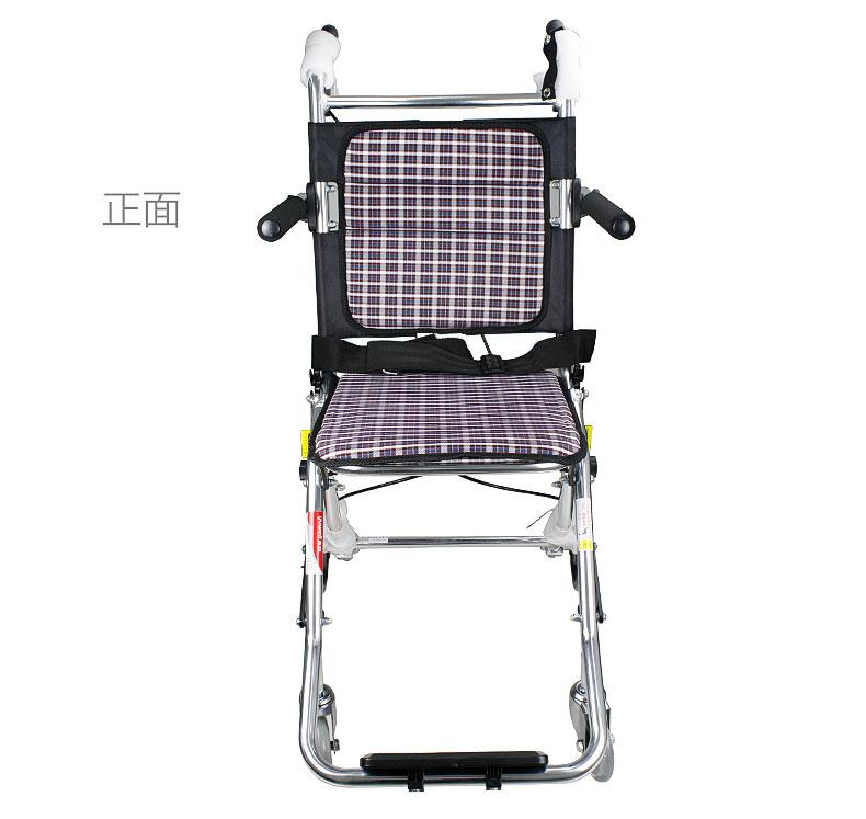 鱼跃轮椅1100铝合金轻便折叠老人残疾人旅行轮椅车正面实拍图
